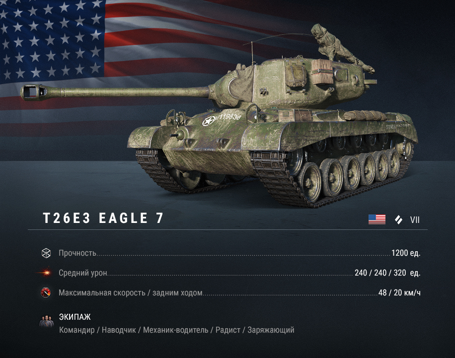 Впервые в продаже: T26E3 Eagle 7